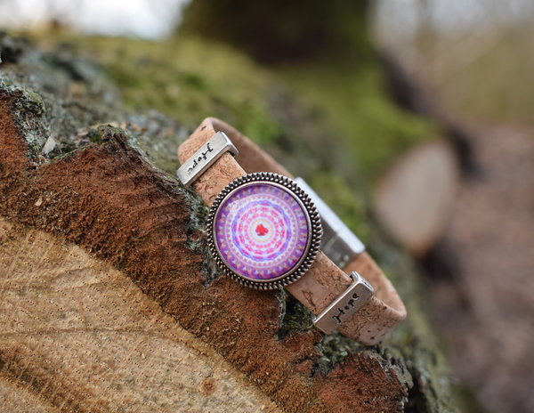 "Kork Armband mit rosa Mandala und ""Hope"" Element"